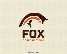 Logo in the shape of a fox composed of abstract shapes with brown and orange colors.( fox, animal, canine, studio, farm, pet shop, jewelry, mascot, consultancy, consulting,  logo for sale, logo design, logo, lototipo, logotype).