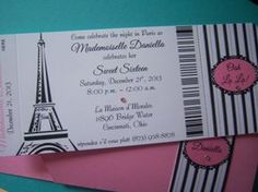Passport to Paris Sweet 16 Quinceañera Birthday Party Invitations | suncitypartycreations - Wedding on ArtFire