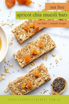 These Nut Free Apricot Chia Muesli Bars are a fantastic lunchbox snack. Packed with oats and free from dairy and eggs these homemade granola bars will be a lunchbox hit. Nut Recipes, Baking Recipes, Lunch Recipes, Healthy Recipes, Dairy Free Snacks, Muesli Bars, Homemade Granola Bars, Nut Free, Food Processor Recipes