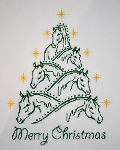 Horse Christmas Tree FINISHED Counted Cross Stitch