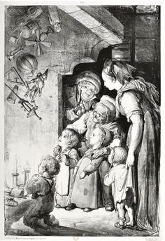 Gravure de Gustave Doré, imprimerie Vayron, Paris –Tradition de Noël : la visite de Christkindel