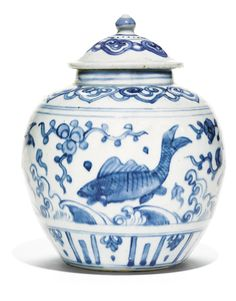 A BLUE AND WHITE 'FISH' JAR AND COVER<br>MING DYNASTY, JIAJING PERIOD | Lot | Sotheby's