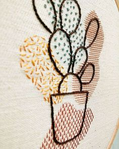 Some details of one of my favourite piece to embroider ✨ . Contemporary Embroidery, Modern Embroidery, Hand Embroidery Patterns, Embroidery Kits, Cross Stitch Embroidery, Embroidery Designs, Diy And Crafts Sewing, Arts And Crafts, Jute