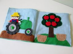 Tractor and Apple Tree Quiet Book Pages