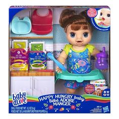 Hasbro Baby Alive Happy Hungry Baby Brown Straight Hair Doll, Makes Sounds And Phrases, Eats And Poops, Drinks And Wets, Fo Multi Baby Alive Food, Baby Alive Dolls, Dream Baby, Baby Love, Toys For Girls, Gifts For Boys, Boy And Girl Shared Bedroom, Baby Doll Furniture, Baby Doll Nursery