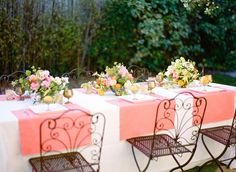 coral & pink spring tablescape //.Vendors: Flowers & Styling: Kelly Oshiro // Photographer: Jess Wilcox // Linens: La Tavola Tablecloth- Lacy Pearl, Napkins, Tuscany Camelia // Wholesale Flowers: Florabundance // Rentals: Town & Country Event Rentals // Model: Kelly Oshio