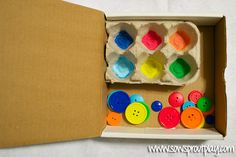 Color Matching Buttons with Egg Carton Busy Box