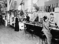American Gilded Age - A fashionable lady seated at the glove counter of Rike's Department Store, in Dayton, Ohio, ~ {cwl} Caroline Reboux, Hobbies For Men, Hobby Photography, White Photography, Dayton Ohio, Hobby Shop, Women In History, Local History, The Good Old Days