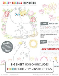 MOOMIN / Moomin Love - Embroidery Patterns BIG SHEET