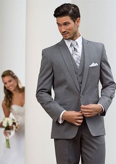 #SavviFormalwear Grey Valencia by Savvi Black Label - Tropical weight wool, 1 button, Grey, Shown with coordinating accessories.