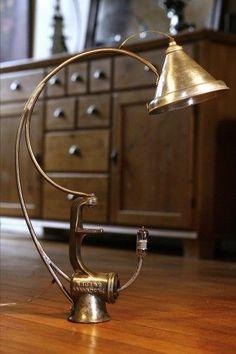 Création lampe récup hachoir à viande et entonnoir, esprit vintage, brocante #LampRecup