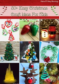 A wonderful list of over 50 different easy to make Christmas craft ideas for kids. Perfect activities for them to do while on Christmas break!