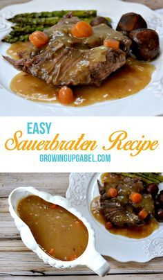 Tired of your boring pot roast recipe? Try this easy German pot roast, or Sauerbraten recipe for an easy dinner! – The Most Popular Recipes Pot Roast Recipes, Meat Recipes, Cooking Recipes, Slow Cooking, Crockpot Recipes, Carne Asada, Beef Dishes, Food Dishes, Desserts