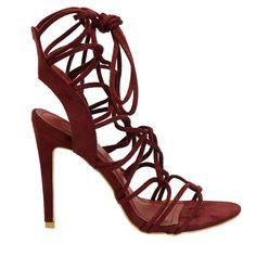 Verge-38 Red Strappy Tie Up High Heels