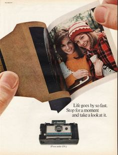 "1967 POLAROID CAMERA vintage magazine advertisement ""Life goes by so fast"" ~ Life goes by so fast. Stop for a moment and take a look at it. - Polaroid Land Camera - Automatic 210 (from under $50.) ~"