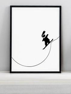 Snowboarding Rabbit Screen Print