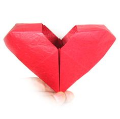 Learn to make and origami heart easily. Nice place to learn unique origami models using paper. 3d Origami Heart, Origami Hearts, Origami Models, Origami Paper, Crafts To Do, Valentines, Valentine Ideas, Quilling, Paper Art