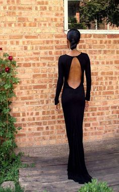 Simple Black Evening Dress Long Sleeves Full Length Slim Roung Neck Low Back Formal Gown For Parties Women'S Cheap Prom Dresses Custom Made Nice Evening Dresses Occasion Dresses Online From Dressonline0603, $98.41| Dhgate.Com