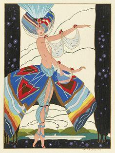 BRUNELLESCHI, UMBERTO; Editor. La Guirlande. Album mensuel d'Art et de Littérature. 11 issues [complete]. 407 plates of which 57 are full color pochoirs, many by Brunelleschi (1919-20)