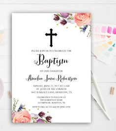 Editable Baptism Invitation  Watercolor Flowers Gold Glitter    PDF   Instant Download Printable