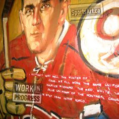 """Le Rocket - """"We all wore the number 9 Montreal Canadians sweater of Maurice Richard"""" - from The Sweater, Roch Carrier. Artist Jeremie White was inspired to paint """"Rocket"""" Richard after reading the famous children's book to his kids."""
