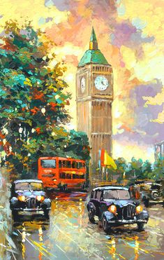 SALE Evening London 2  Original oil painting on by spirosart