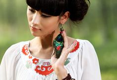 #Swanmarks Liebo New 2012 Peacock Feather Carving Brass Bead Earring