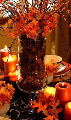 Thanksgiving decorations - Leaves and orange candles make for the perfect intimate Thanksgiving table setting. Thanksgiving decorations - Leaves and orange candles make for the perfect intimate Thanksgiving table setting. Thanksgiving Table Settings, Thanksgiving Crafts, Fall Crafts, Holiday Crafts, Decorating For Thanksgiving, Thanksgiving Wedding, Rustic Thanksgiving, Thanksgiving Drinks, Thanksgiving Cookies