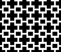 Squared Plus in Black and White fabric by sparrowsong on Spoonflower - custom fabric