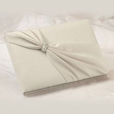 WeddingDepot.com ~ Satin Rhinestone Ivory Guest Book ~