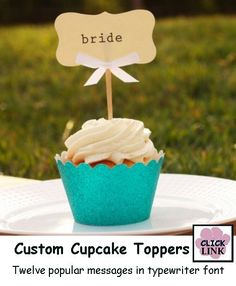 DMC Wedding Collection Custom Cupcake Toppers (Set of cupcake-favors-and-gifts foodstuff-i-love Cupcake Signs, Cupcake Favors, Cupcake Wrappers, Cupcake Cakes, Cupcake Ideas, Cupcake Display, Cup Cakes, Bride Cupcakes, Love Cupcakes