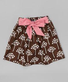 Look at this #zulilyfind! Brown & Pink Bow Skirt - Infant, Toddler & Girls by Sweet Chic-A-Dee #zulilyfinds