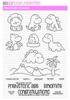 This is a inch clear stamp set. Bullet Journal Banner, Bullet Journal Ideas Pages, Preschool Coloring Pages, Coloring Book Pages, Paper Dinosaur, Printable Activities For Kids, Felt Patterns, Prehistoric Age, Digi Stamps