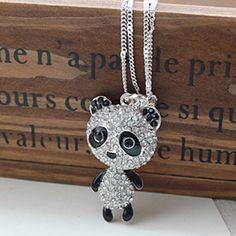 Kawaii Diamond Panda Pendant Ladies Necklace : Wholesaleclothing4u.com