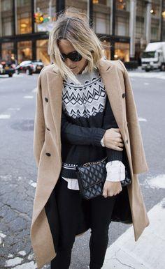 #winter #fashion / Camel Coat + Printed Knit