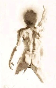 """""""Edoardo Reaching"""" - Wendy Artin, watercolor on Rives BFK paper {contemporary figurative artist discreet nude male posterior back standing man painting} Human Figure Drawing, Figure Sketching, Guy Drawing, Life Drawing, Painting & Drawing, Drawing Tips, Watercolor Portraits, Watercolor Paintings, Watercolour"""
