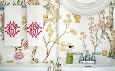 wallpaper: lonny bathroom.  leontine, degournay wallpaper white.  pink.
