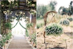 The Ultimate Barn Wedding.. updated hooks with simple baskets. Great to line the walkway in.