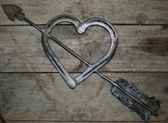 Horseshoe heart with arrow...horseshoe by GarysCustomMetalwork, $49.99