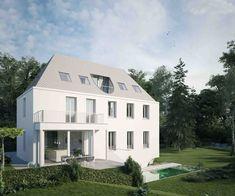 Der Außenbereich der Villa in der Wehrgasse ist beindruckend. Die große, teilüberdachte Süd-West-Terrasse erweitert den Wohnraum nach außen. Der Garten mit einer Größe von 575 m2 grenzt an den idyllischen Glanbach. Ein weiteres Highlight ist der wunderschöne Schwimmteich, er schmiegt sich, architektonisch elegant integriert direkt an die Villa. Salzburg, Style At Home, Mansions, Elegant, House Styles, Home Decor, Patio, Apartments, Open Fireplace