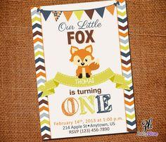 Little Fox Invitation Birthday Invite Custom Fox Invitation Fall Chevron Orange Brown Yellow Grey Printable Digital File on Etsy, $10.00
