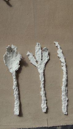Knife, Fork & Spoon, garden plants dipped in paper porcelain & fired