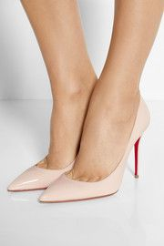 Heel measures approximately 4 inches Baby-pink patent-leather Slip on Designer color: Ballerina Made in Italy Pink Pumps, Red Sole, Love Ring, Patent Leather Pumps, Leather Slip Ons, Designer Shoes, Stella Mccartney, Bag Accessories, Stiletto Heels