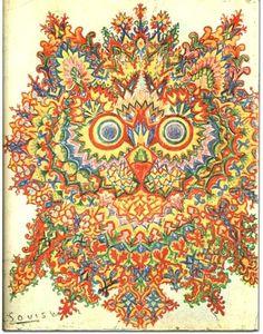 Louis Wain. Artist with schizophrenia.   Se puede ver el desarrollo de su enfermedad a través de sus pinturas de gatos. En esta ya se aprecia la enfermedad avanzada.