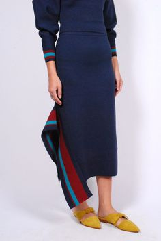 25da058974 Tibi Jacquard Knit Skirt- Navy Multi