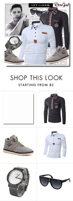 """Man shirt 53."" by nudzi-ded ❤ liked on Polyvore featuring Carrera, men's fashion, menswear, shoes, watch, shirt and rosegal"
