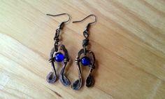 Hammered Ribbon Copper Blue Earrings Glass by JennieVargasJewelry