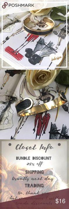 "Gold & Black 🐍 skin design high end bracelet Black & gold faux snake skin cuff bangle style bracelet.   Very hard, EUC, goes with many many outfits!!  2.5"" wrist width, 2"" height of wrist Jewelry Bracelets"