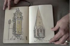 mattias adolfsson -- sketchbook        Swedish illustrator Mattias Adolfsson has uploaded a nice series of youtube videos in which he flips through his completed Moleskine sketchbooks. Adolfsson's use of video brings the traditional sketchbook scan format to life, offering a sense of tactility and scale. He lives in Sigtuna, just outside of Stockholm, and has worked on everything from computer games to children's books.
