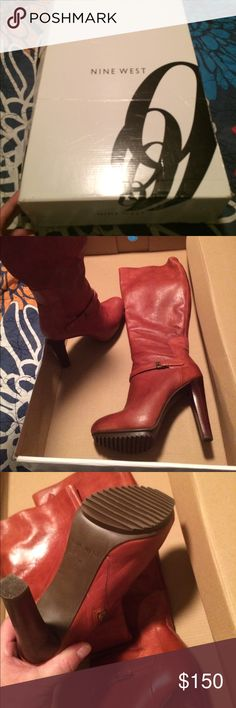 Nine West high boots size 7 m Nine West new boots are absolutely beautiful that's why I bought them but they r sitting in my closet but nevertheless they caught my attention as soon as I saw them who ever buys them r gonna look stunning on a night out Nine West Shoes Heeled Boots